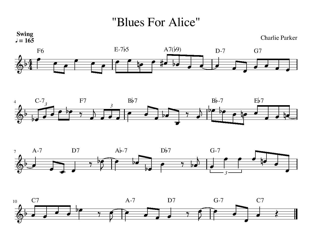 blues for alice transcription lead sheet online jazz music theory lesson charlie parker
