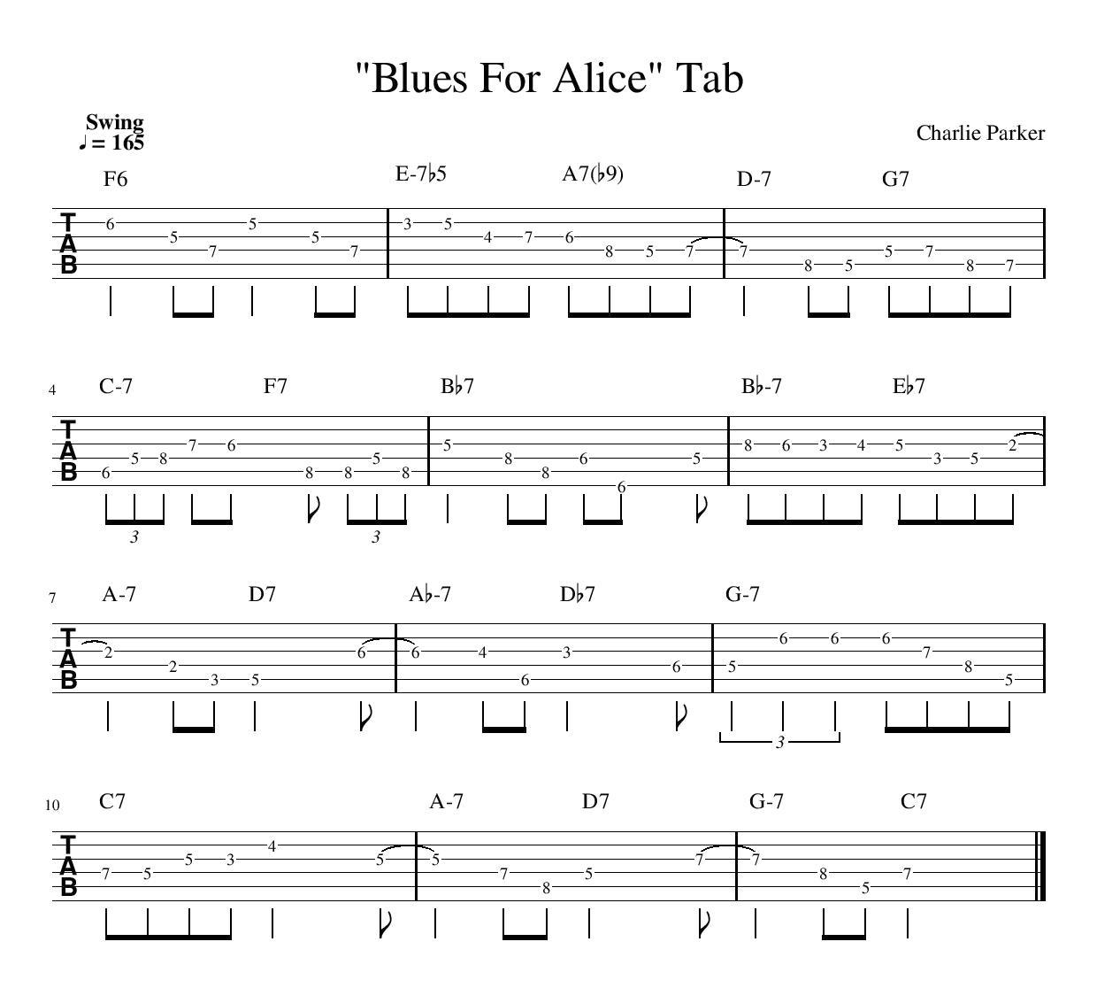 Blues For Alice Charlie Parker Guitar Tab jazz guitar theory music lesson tablature