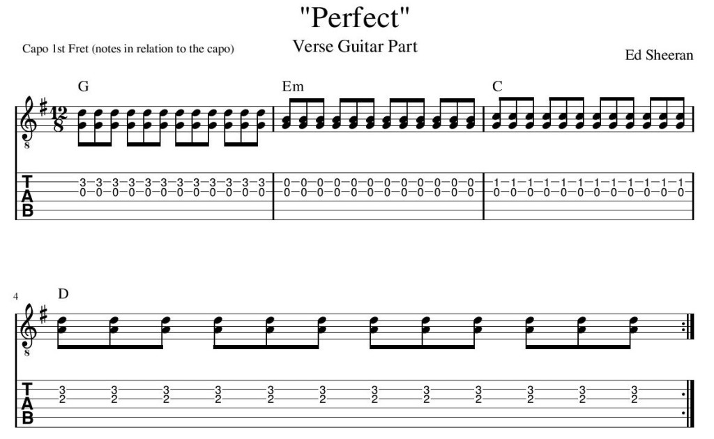 Perfect Ed Sheeran Verse Guitar Tab guitar lesson guitar transcription lessons